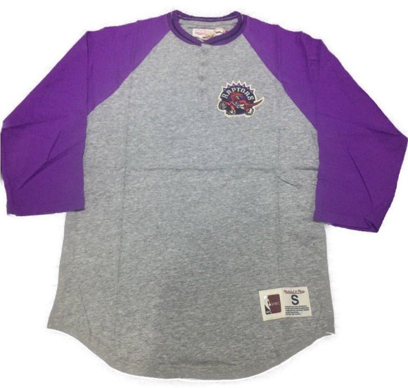 Men's Toronto Raptors Mitchell & Ness 4 Button-Up Henley 3/4 Sleeve Purple T Shirt - Bleacher Bum Collectibles, Toronto Blue Jays, NHL , MLB, Toronto Maple Leafs, Hat, Cap, Jersey, Hoodie, T Shirt, NFL, NBA, Toronto Raptors