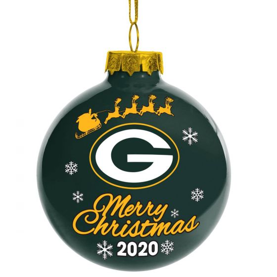 Green Bay Packers Shatter Proof Single Ball Christmas Ornament NFL Football