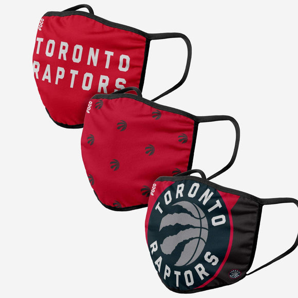 Toronto Raptors NBA Basketball Foco Pack of 3 Adult Face Covering Mask