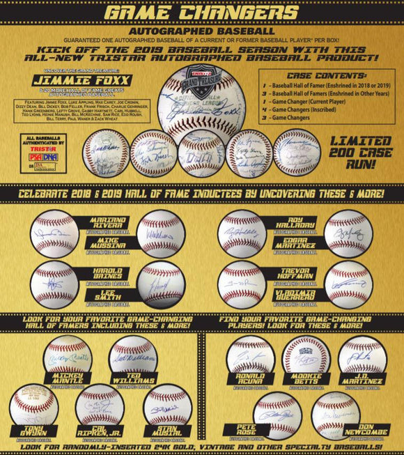 2019 TriStar Game Changers Autographed Baseball Hobby Box - Bleacher Bum Collectibles, Toronto Blue Jays, NHL , MLB, Toronto Maple Leafs, Hat, Cap, Jersey, Hoodie, T Shirt, NFL, NBA, Toronto Raptors