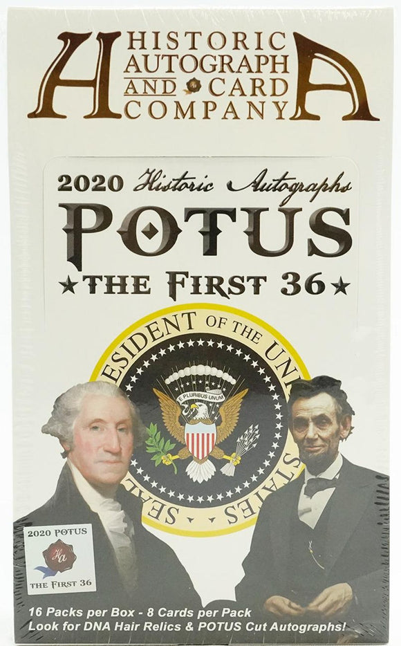 2020 Historic Autographs POTUS The First 36 Hobby Box 16 Packs Per Box 8 Cards Per Pack