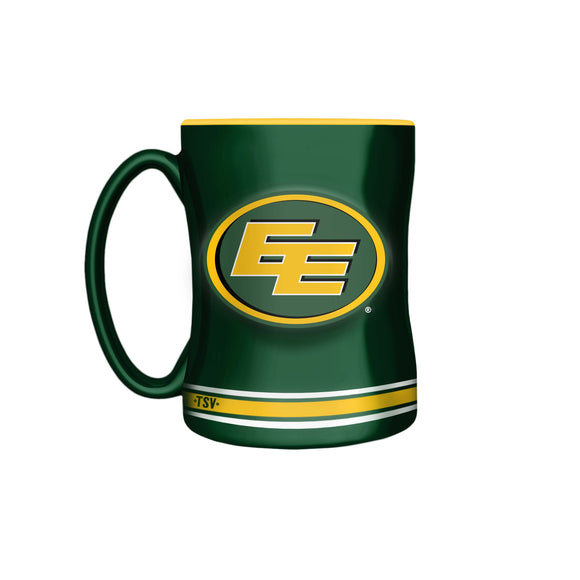 Edmonton Eskimos Primary Logo Yellow Green CFL Football 14oz Sculpted C-Handle Mug - Bleacher Bum Collectibles, Toronto Blue Jays, NHL , MLB, Toronto Maple Leafs, Hat, Cap, Jersey, Hoodie, T Shirt, NFL, NBA, Toronto Raptors