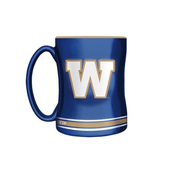 Winnipeg Blue Bombers Primary Logo Blue  Yellow CFL Football 14oz Sculpted C-Handle Mug