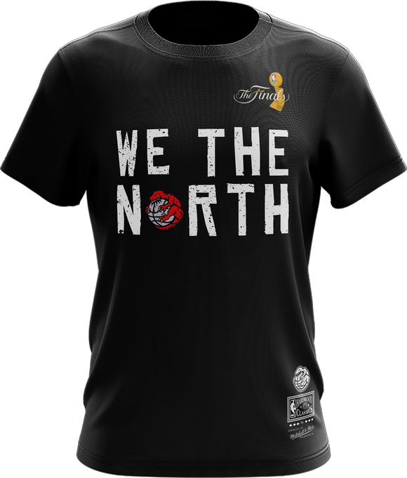 Men's Toronto Raptors Mitchell & Ness We The North Claw Ball The Finals Hardwood Classics Retro Logo T-Shirt