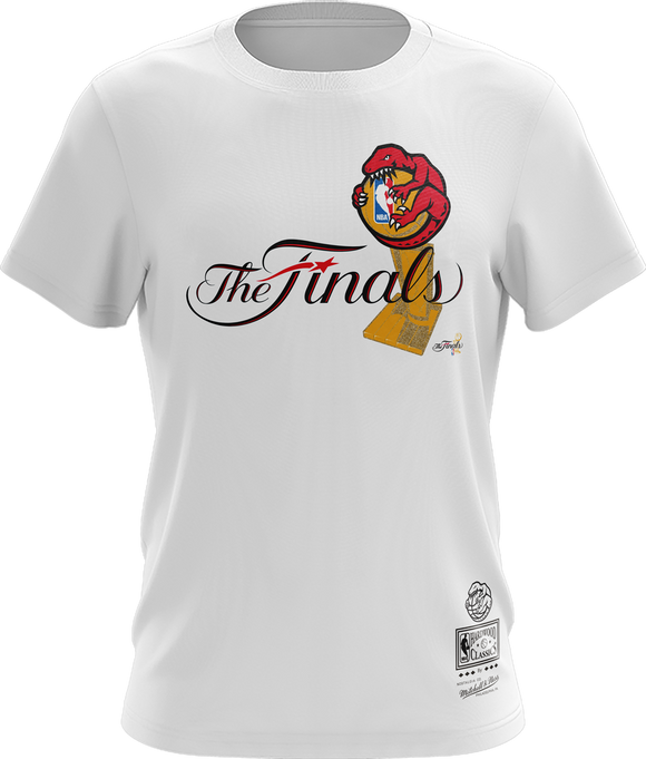 Men's Toronto Raptors Mitchell & Ness Hug The Trophy The Finals Hardwood Classics Retro Logo T-Shirt