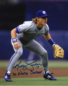 Toronto Blue Jays Kelly Gruber Signed MLB Baseball 8x10 Photo Autograph '92 World Series - Bleacher Bum Collectibles, Toronto Blue Jays, NHL , MLB, Toronto Maple Leafs, Hat, Cap, Jersey, Hoodie, T Shirt, NFL, NBA, Toronto Raptors