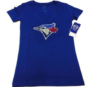 Women's Toronto Blue Jays Tri-Blend Hazel Mae Rhinestone Blue V Neck T Shirt - Bleacher Bum Collectibles, Toronto Blue Jays, NHL , MLB, Toronto Maple Leafs, Hat, Cap, Jersey, Hoodie, T Shirt, NFL, NBA, Toronto Raptors
