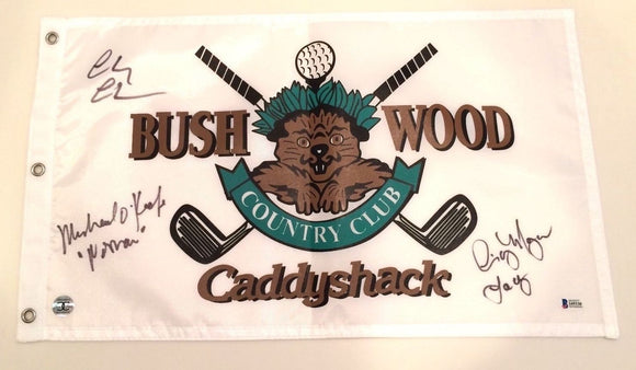 Caddyshack Signed Bushwood Country Club Golf Pin Flag W/Chevy Chase, Michael O'Keefe