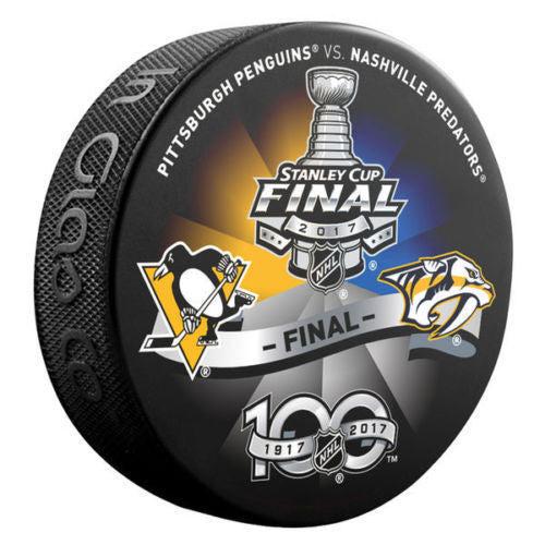 Nashville Predators vs. Pittsburgh Penguins 2017 Stanley Cup Final Duel Logo Puck - Bleacher Bum Collectibles, Toronto Blue Jays, NHL , MLB, Toronto Maple Leafs, Hat, Cap, Jersey, Hoodie, T Shirt, NFL, NBA, Toronto Raptors