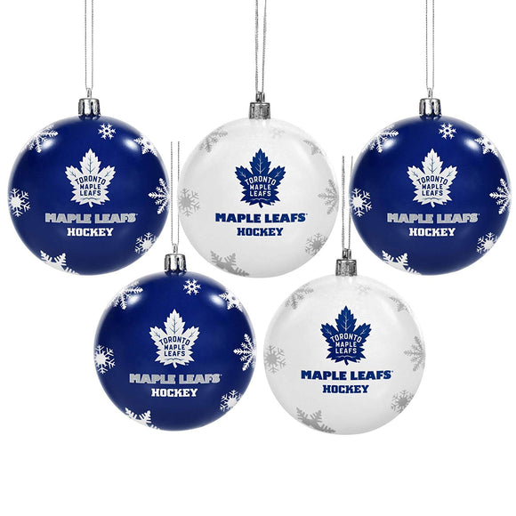 Toronto Maple Leafs Snowflake Set of 5 Shatterproof Ball Christmas Tree Ornaments - Bleacher Bum Collectibles, Toronto Blue Jays, NHL , MLB, Toronto Maple Leafs, Hat, Cap, Jersey, Hoodie, T Shirt, NFL, NBA, Toronto Raptors