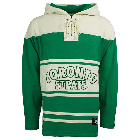 Men's Toronto St Pats Green White '47 Brand Heavyweight Jersey Lacer Hoodie