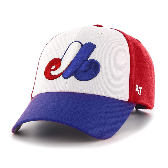 Youth Montreal Expos '47 Brand MLB Baseball Cooperstown Logo Two Tone Cap Hat - Bleacher Bum Collectibles, Toronto Blue Jays, NHL , MLB, Toronto Maple Leafs, Hat, Cap, Jersey, Hoodie, T Shirt, NFL, NBA, Toronto Raptors