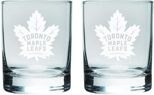 Toronto Maple Leafs Logo NHL Hockey Rocks Glass Set of Two 13.5 oz in Gift Box
