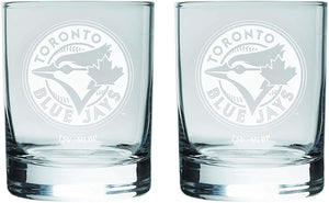 Toronto Blue Jays Logo MLB Baseball Rocks Glass Set of Two 13.5oz in Gift Box