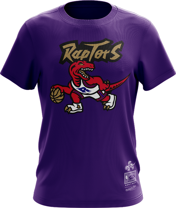 Men's Toronto Raptors Mitchell & Ness Purple Red & Gold Hardwood Classics Retro Logo T-Shirt