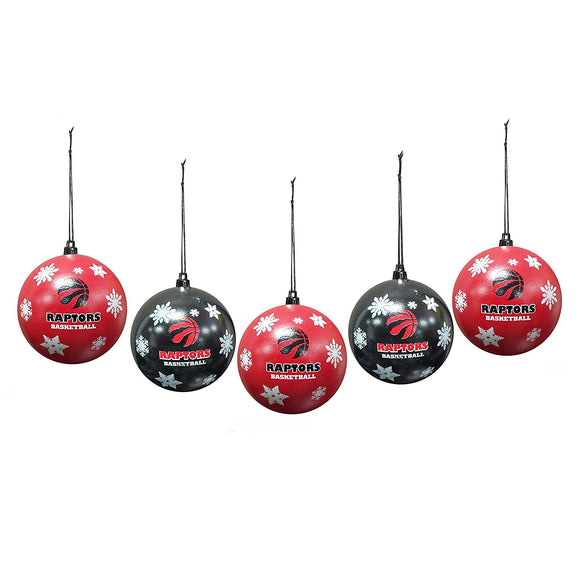 Toronto Raptors Snowflake Set of 5 Shatterproof Ball Christmas Tree Ornaments - Bleacher Bum Collectibles, Toronto Blue Jays, NHL , MLB, Toronto Maple Leafs, Hat, Cap, Jersey, Hoodie, T Shirt, NFL, NBA, Toronto Raptors