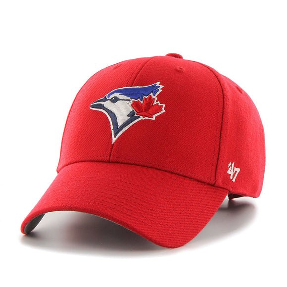 Toronto Blue Jays Alternate Scarlet Red Adjustable Strap MVP Hat Cap 47 Brand - Bleacher Bum Collectibles, Toronto Blue Jays, NHL , MLB, Toronto Maple Leafs, Hat, Cap, Jersey, Hoodie, T Shirt, NFL, NBA, Toronto Raptors