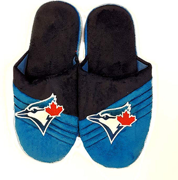 Men's Toronto Blue Jays MLB Baseball Plush Big Logo Soft Slipper 2.0 - Multiple Sizes - Bleacher Bum Collectibles, Toronto Blue Jays, NHL , MLB, Toronto Maple Leafs, Hat, Cap, Jersey, Hoodie, T Shirt, NFL, NBA, Toronto Raptors