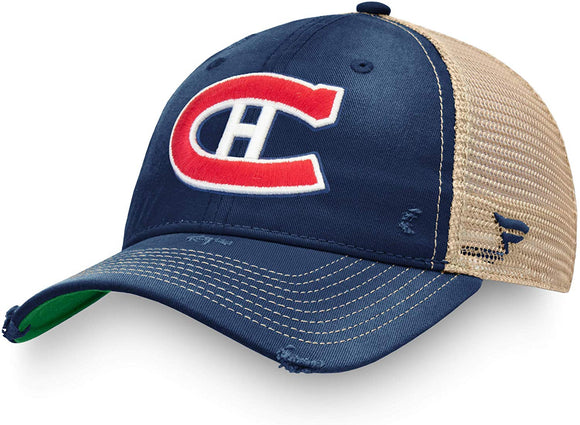 Men's Fanatics Branded Blue Montreal Canadiens True Classic Washed Trucker Snapback Hat - Bleacher Bum Collectibles, Toronto Blue Jays, NHL , MLB, Toronto Maple Leafs, Hat, Cap, Jersey, Hoodie, T Shirt, NFL, NBA, Toronto Raptors