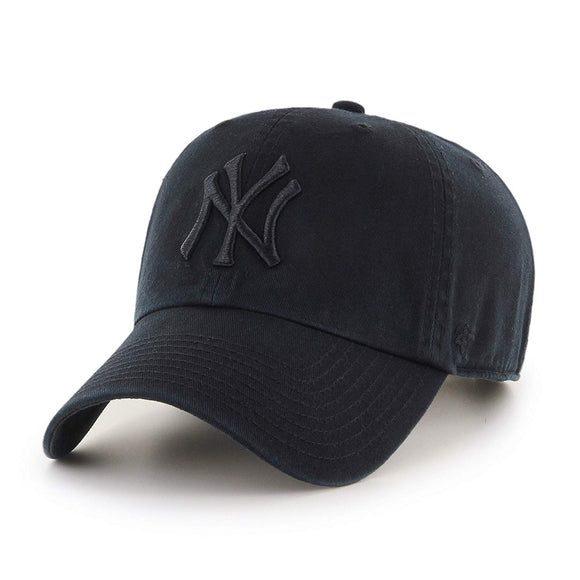 Men's New York Yankees 47 Brand Black Clean Up Adjustable Buckle Cap Hat - Bleacher Bum Collectibles, Toronto Blue Jays, NHL , MLB, Toronto Maple Leafs, Hat, Cap, Jersey, Hoodie, T Shirt, NFL, NBA, Toronto Raptors