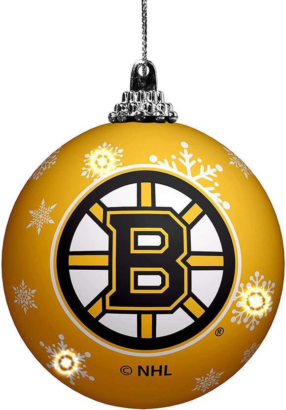 Boston Bruins Primary Logo Light Up Single Ball Christmas Ornament Snowy
