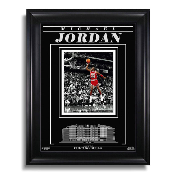 Michael Jordan Chicago Bulls Engraved Framed Photo - Dunk Spotlight