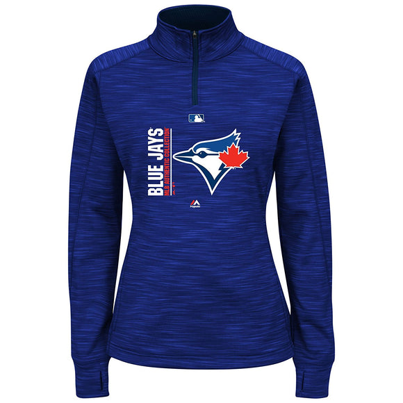 Toronto Blue Jays Women's Authentic Collection Team Icon Streak 1/4 Zip Fleece Sweatshirt - Bleacher Bum Collectibles, Toronto Blue Jays, NHL , MLB, Toronto Maple Leafs, Hat, Cap, Jersey, Hoodie, T Shirt, NFL, NBA, Toronto Raptors