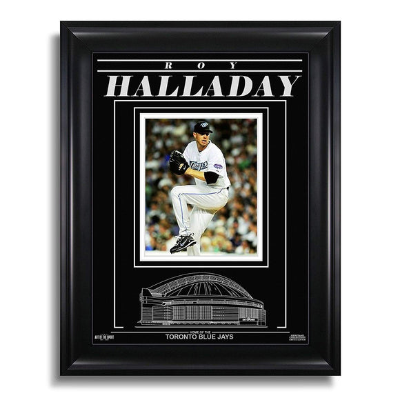 Roy Halladay Toronto Blue Jays Engraved Framed Photo - Action Pitch