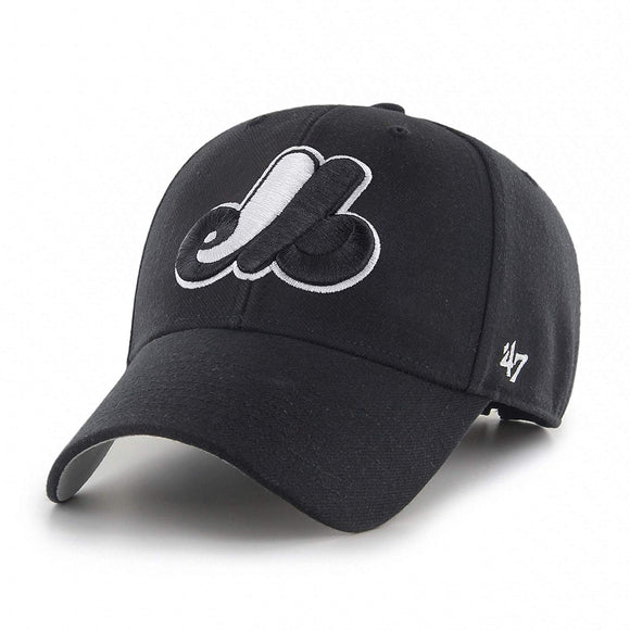 Montreal Expos Black& White '47 MVP Adjustable Cap Hat MLB Baseball One Size Fits Most - Bleacher Bum Collectibles, Toronto Blue Jays, NHL , MLB, Toronto Maple Leafs, Hat, Cap, Jersey, Hoodie, T Shirt, NFL, NBA, Toronto Raptors