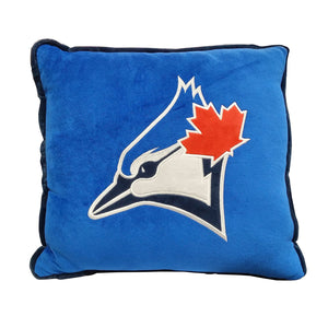 Toronto Blue Jays Contrast Trim Pillow By Forever Collectibles - Bleacher Bum Collectibles, Toronto Blue Jays, NHL , MLB, Toronto Maple Leafs, Hat, Cap, Jersey, Hoodie, T Shirt, NFL, NBA, Toronto Raptors