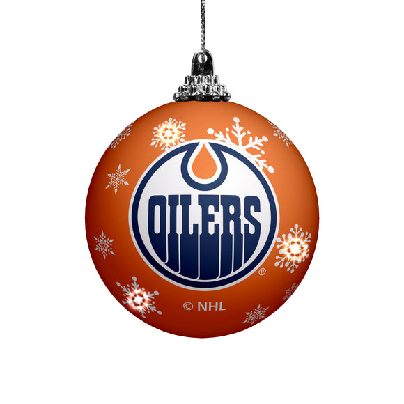 Edmonton Oilers Primary Logo Light Up Single Ball Christmas Ornament Orange Snowy - Bleacher Bum Collectibles, Toronto Blue Jays, NHL , MLB, Toronto Maple Leafs, Hat, Cap, Jersey, Hoodie, T Shirt, NFL, NBA, Toronto Raptors