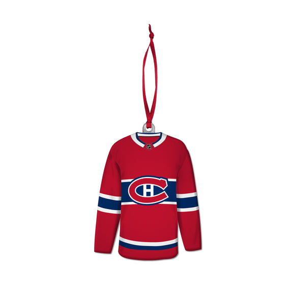Montreal Canadiens NHL Hockey Resin Jersey with Satin Ribbon Christmas Tree Ornament