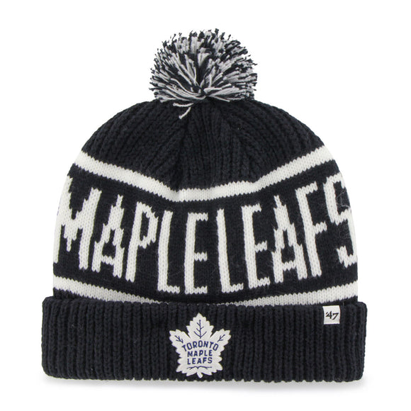 Toronto Maple Leafs NHL Hockey White Blue Logo Cuffed Knit Pom Toque Beanie - Bleacher Bum Collectibles, Toronto Blue Jays, NHL , MLB, Toronto Maple Leafs, Hat, Cap, Jersey, Hoodie, T Shirt, NFL, NBA, Toronto Raptors