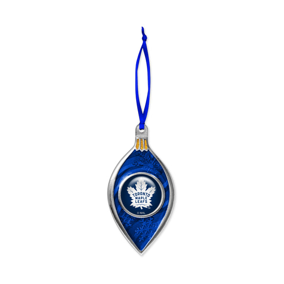 Toronto Maple Leafs NHL Hockey Sparkle with Satin Ribbon Christmas Tree Ornament