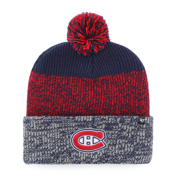 Men's Montreal Canadiens Static Cuffed Pom Toque Beanie Knit Hat Cap - Bleacher Bum Collectibles, Toronto Blue Jays, NHL , MLB, Toronto Maple Leafs, Hat, Cap, Jersey, Hoodie, T Shirt, NFL, NBA, Toronto Raptors