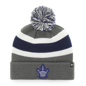 Men's Toronto Maple Leafs Charcoal Breakaway Cuffed Pom Toque Beanie Knit Hat Cap - Bleacher Bum Collectibles, Toronto Blue Jays, NHL , MLB, Toronto Maple Leafs, Hat, Cap, Jersey, Hoodie, T Shirt, NFL, NBA, Toronto Raptors