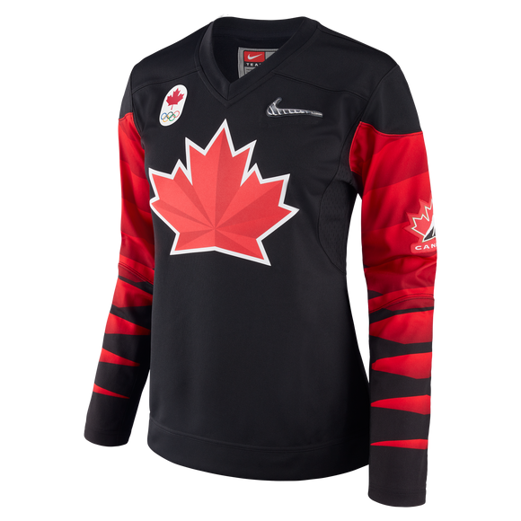 2018 Team Canada Nike Hockey Olympic Black Jersey - Women's/Ladies - Bleacher Bum Collectibles, Toronto Blue Jays, NHL , MLB, Toronto Maple Leafs, Hat, Cap, Jersey, Hoodie, T Shirt, NFL, NBA, Toronto Raptors