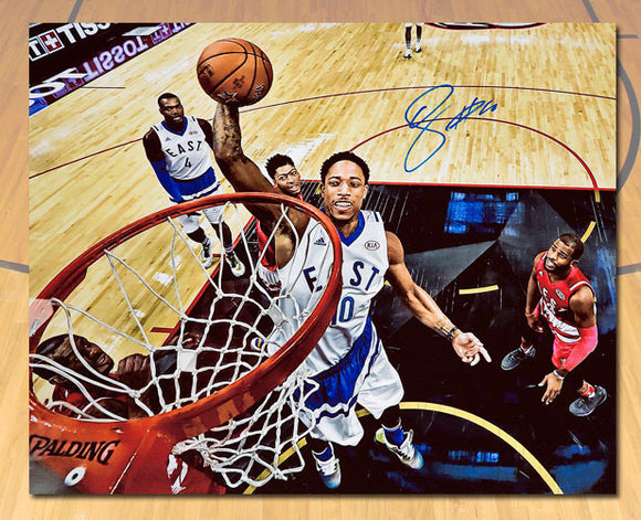 Demar DeRozan 2016 NBA All Star Game Autographed Net Cam 20x24 Art Canvas #/16 - Bleacher Bum Collectibles, Toronto Blue Jays, NHL , MLB, Toronto Maple Leafs, Hat, Cap, Jersey, Hoodie, T Shirt, NFL, NBA, Toronto Raptors