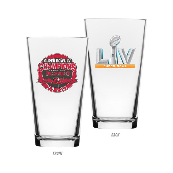 Tampa Bay Buccaneers 2021 Super Bowl LV Champions NFL Football 16oz Mixing Glass