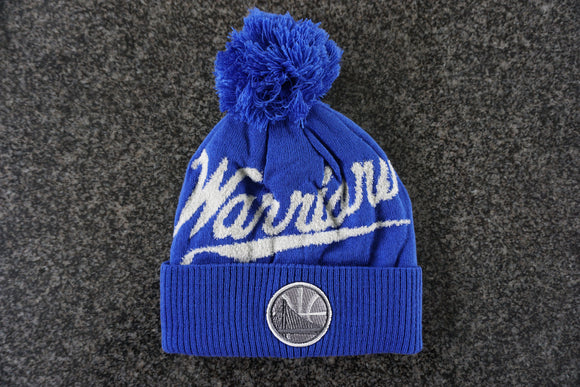 Golden State Warriors NBA Basketball Logo & Word Mark Pom Toque Beanie By Mitchell & Ness - Bleacher Bum Collectibles, Toronto Blue Jays, NHL , MLB, Toronto Maple Leafs, Hat, Cap, Jersey, Hoodie, T Shirt, NFL, NBA, Toronto Raptors