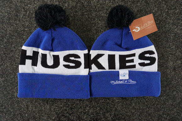 Toronto Huskies NBA Basketball Word Mark Pom Toque Beanie By Mitchell & Ness One Size Fits Most - Bleacher Bum Collectibles, Toronto Blue Jays, NHL , MLB, Toronto Maple Leafs, Hat, Cap, Jersey, Hoodie, T Shirt, NFL, NBA, Toronto Raptors