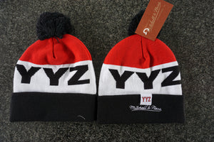 low cost 0060a 5c0a8 Toronto Raptors YYZ NBA Basketball Word Mark Pom Toque Beanie By Mitchell &  Ness One Size Fits Most