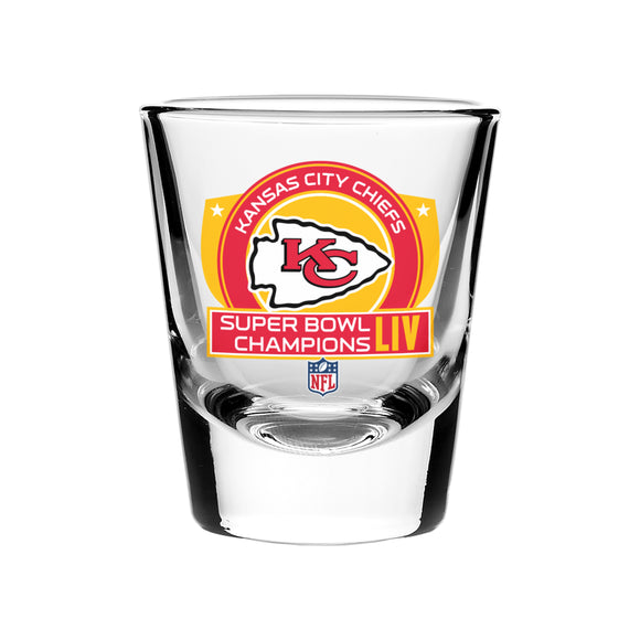 Kansas City Chiefs 2020 Super Bowl LIV Champions Football 2oz Collector's Shot Glass - Bleacher Bum Collectibles, Toronto Blue Jays, NHL , MLB, Toronto Maple Leafs, Hat, Cap, Jersey, Hoodie, T Shirt, NFL, NBA, Toronto Raptors