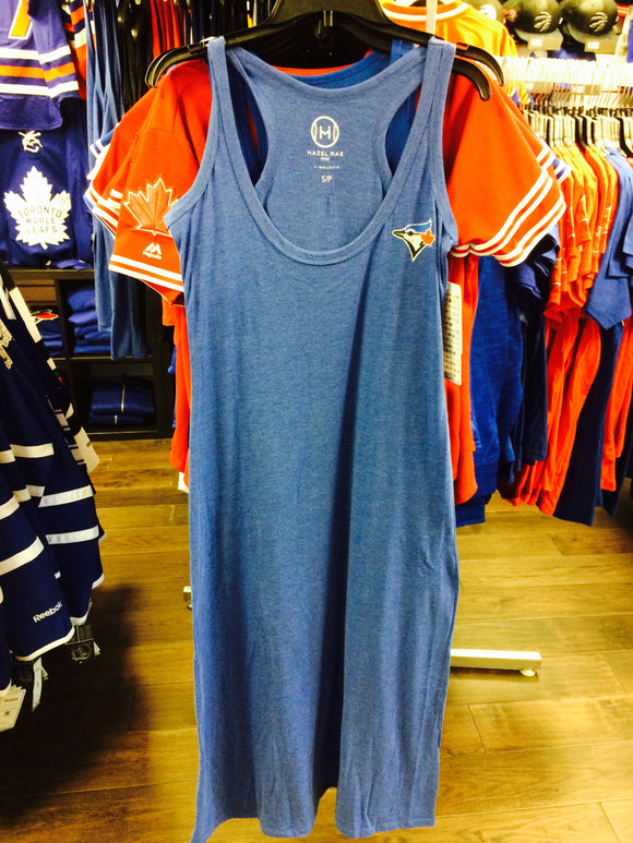 Women's Toronto Blue Jays Hazel Mae Collection Racerback Tank Top Maxi Dress - Bleacher Bum Collectibles, Toronto Blue Jays, NHL , MLB, Toronto Maple Leafs, Hat, Cap, Jersey, Hoodie, T Shirt, NFL, NBA, Toronto Raptors