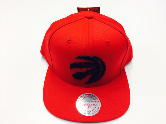 Toronto Raptors Primary Logo NBA Basketball Mitchell & Ness Black Red Hat
