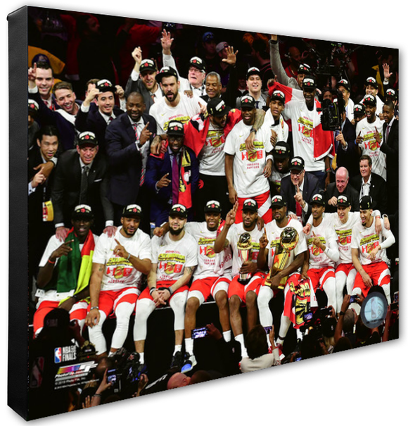 Toronto Raptors 2019 NBA Champions Trophy Presentation Stretched Canvas - Multiple Pose