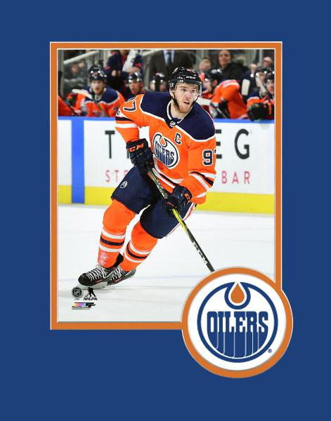 Edmonton Oilers Connor McDavid Action Shot 8x10 Matted Logo Photo NHL Hockey - Bleacher Bum Collectibles, Toronto Blue Jays, NHL , MLB, Toronto Maple Leafs, Hat, Cap, Jersey, Hoodie, T Shirt, NFL, NBA, Toronto Raptors