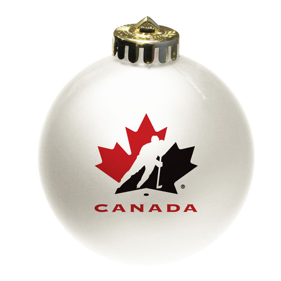 Team Canada White Shatter Proof Single Ball Christmas Ornament Hockey