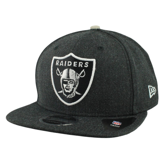 Oakland Raiders NFL New Era 9Fifty Heather Hype Snapback Hat Cap Black