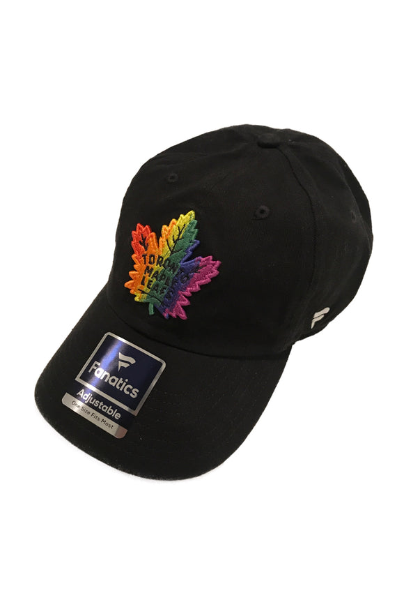 Men's Toronto Maple Leafs Fanatics Branded Pride Black Rainbow Logo Adjustable Hat - Bleacher Bum Collectibles, Toronto Blue Jays, NHL , MLB, Toronto Maple Leafs, Hat, Cap, Jersey, Hoodie, T Shirt, NFL, NBA, Toronto Raptors
